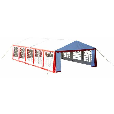 Hommoo Party Tent Top and Side Panels 10 x 5 m Red & White QAH33946