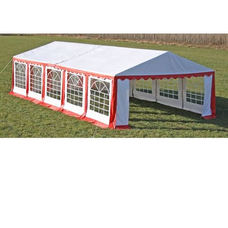 Hommoo Party Tent Top and Side Panels 10 x 5 m Red & White VD33946