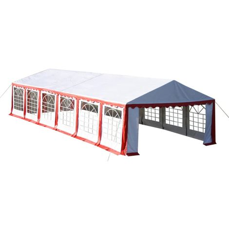 Hommoo Partyzelt 12 x 6 m Rot