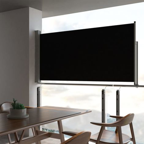 Hommoo Patio Retractable Side Awning 120 x 300 cm Black