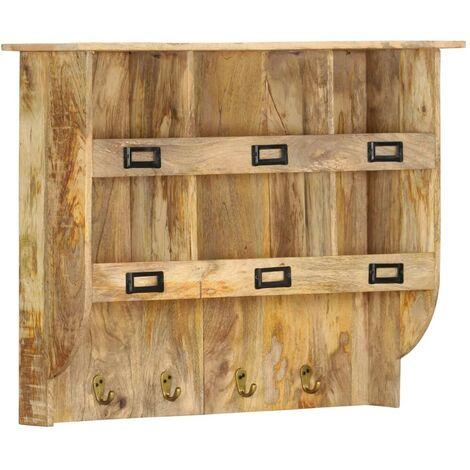 Hommoo Perchero de pared de madera maciza de mango 70x20x55 cm