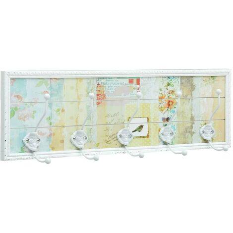 Hommoo Perchero MDF blanco 20,2x8,5x66,5 cm