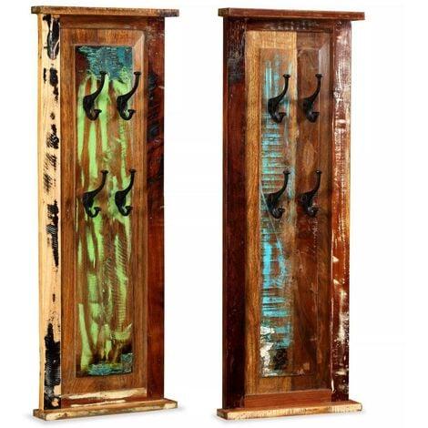 Hommoo Percheros 2 unidades madera maciza reciclada 38x100 cm