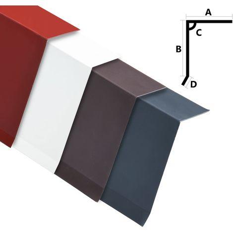 Hommoo Perfiles de borde de tejado en L 5 uds aluminio blanco 170 cm