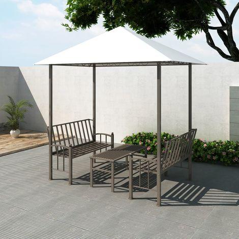 Hommoo Pérgola de jardín con mesa y bancos 2,5x1,5x2,4 m