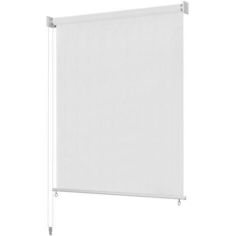 Hommoo Persiana enrollable de exterior 100x140 cm blanca