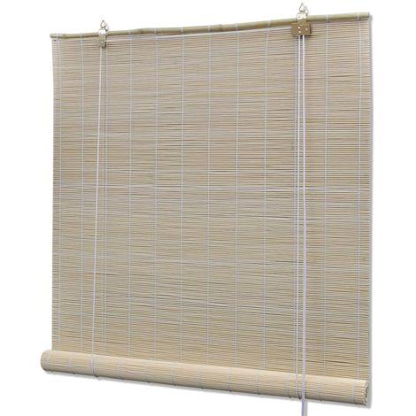 Hommoo Persianas enrollables de bambú natural 120x220 cm