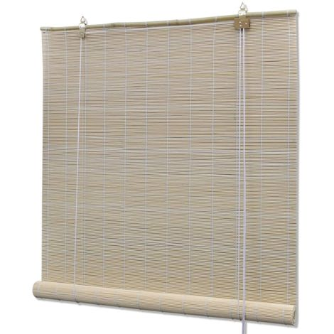 Hommoo Persianas enrollables de bambú natural 140x160 cm