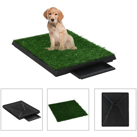Hommoo Pet Toilets 2 pcs with Tray & Faux Turf Green 63x50x7 cm WC