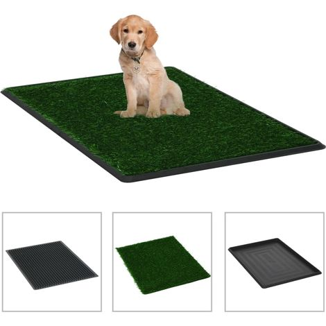 Hommoo Pet Toilets 2 pcs with Tray & Faux Turf Green 76x51x3 cm WC