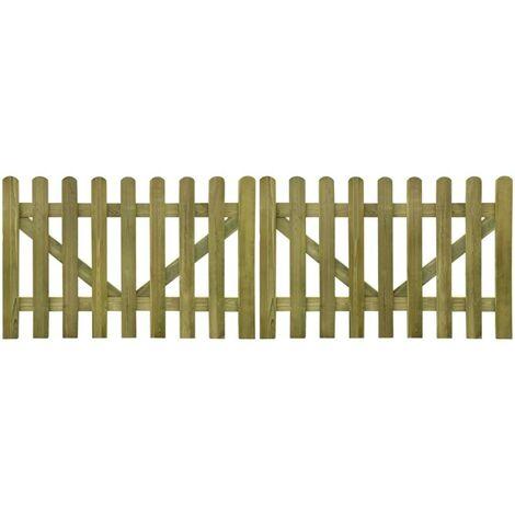 Hommoo Picket Fence Gate 2 pcs FSC Impregnated Wood 300x100 cm