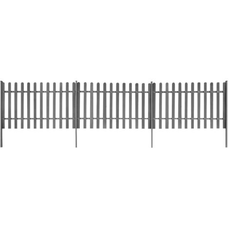 Hommoo Picket Fence with Posts 3 pcs WPC 600x100 cm