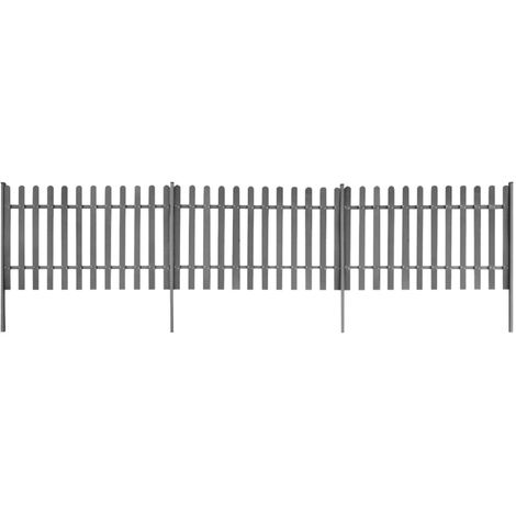 Hommoo Picket Fence with Posts 3 pcs WPC 600x120 cm