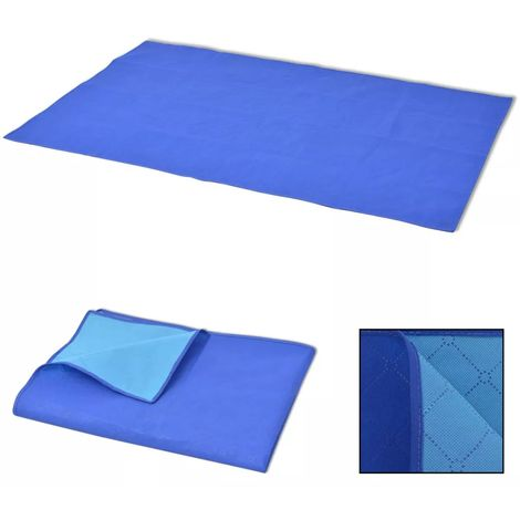 Hommoo Picnic Blanket Blue and Light Blue 100x150 cm