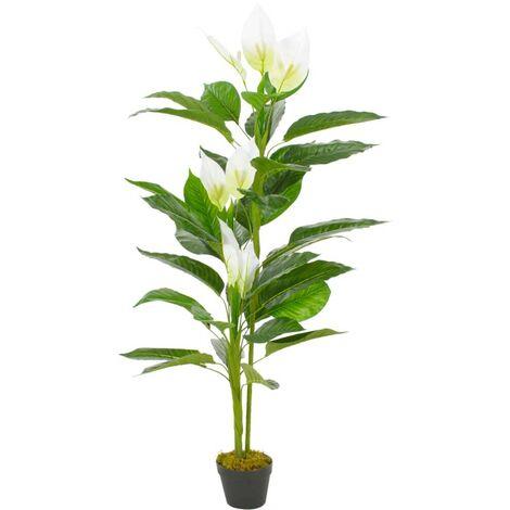 Hommoo Planta artificial Anthurium con macetero 155 cm blanca