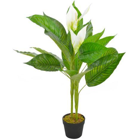 Hommoo Planta artificial Anthurium con macetero 90 cm blanca