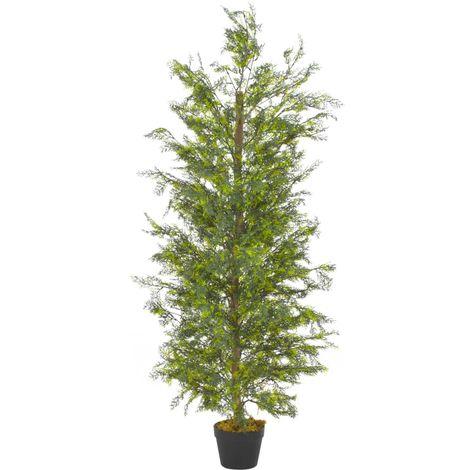 Hommoo Planta artificial árbol ciprés con macetero 150 cm verde