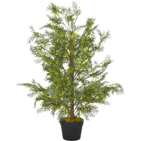 Hommoo Planta artificial árbol ciprés con macetero 90 cm verde