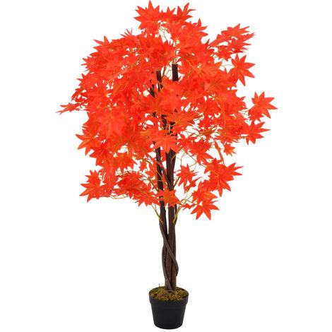 Hommoo Planta artificial árbol de arce con macetero rojo 120 cm