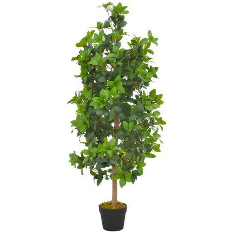 Hommoo Planta artificial árbol de laurel con macetero 120 cm verde