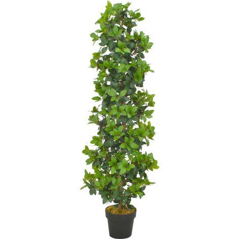 Hommoo Planta artificial árbol de laurel con macetero 150 cm verde