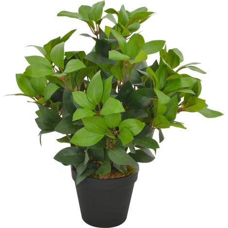 Hommoo Planta artificial árbol de laurel con macetero 40 cm verde