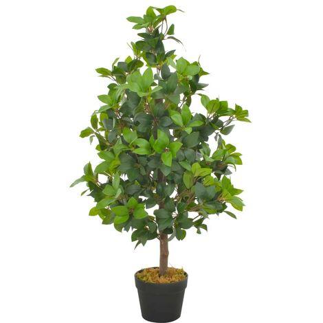 Hommoo Planta artificial árbol de laurel con macetero 90 cm verde
