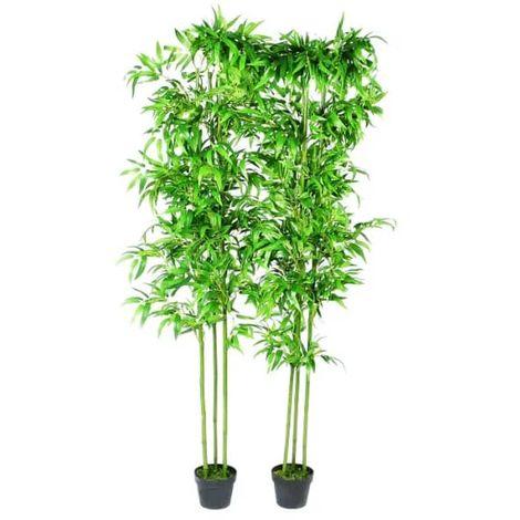 Hommoo Planta artificial de bambú set de 2 unidades 190 cm