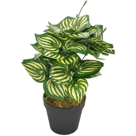 Hommoo Planta artificial hojas de sandía con macetero verde 45 cm