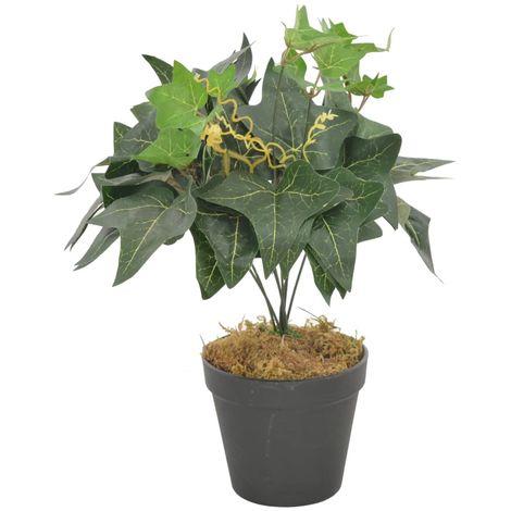 Hommoo Planta artificial hojas yedra con macetero verde 45 cm