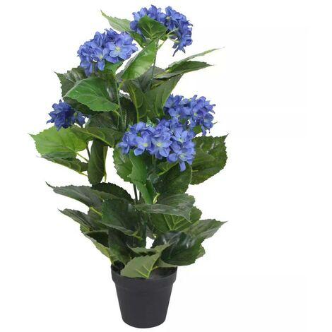 Hommoo Planta artificial hortensia con macetero 60 cm azul