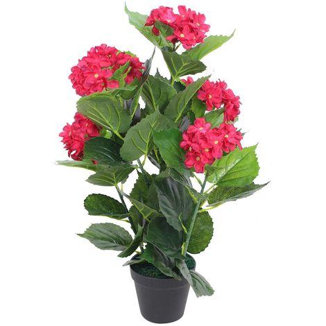 Hommoo Planta artificial hortensia con macetero 60 cm roja