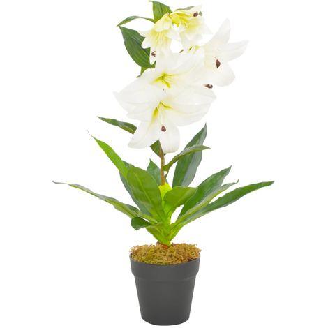 Hommoo Planta artificial lirio con macetero 65 cm blanca