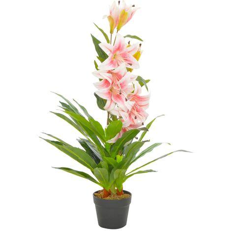 Hommoo Planta artificial lirio con macetero 90 cm rosa