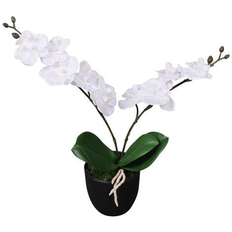 Hommoo Planta artificial orquídea con macetero 30 cm blanca
