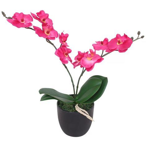 Hommoo Planta artificial orquídea con macetero 30 cm roja