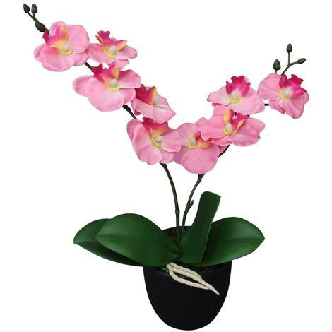 Hommoo Planta artificial orquídea con macetero 30 cm rosa