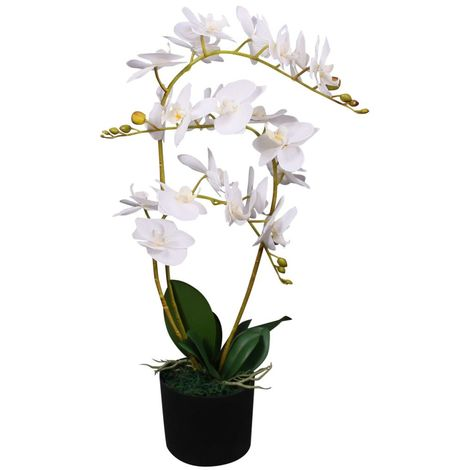 Hommoo Planta artificial orquídea con macetero 65 cm blanca