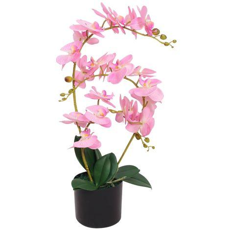 Hommoo Planta artificial orquídea con macetero 65 cm rosa
