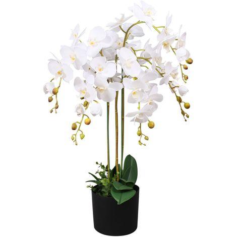 Hommoo Planta artificial orquídea con macetero 75 cm blanca