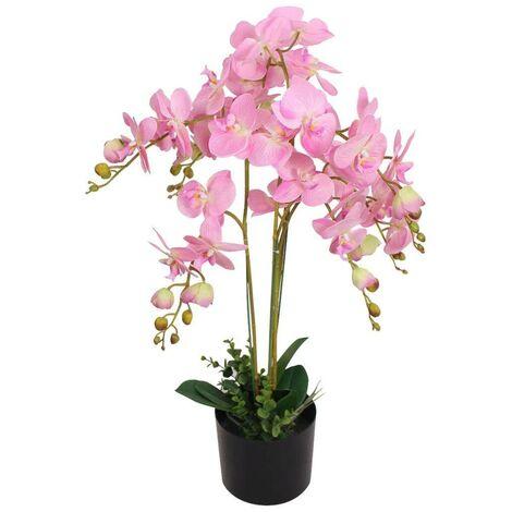 Hommoo Planta artificial orquídea con macetero 75 cm rosa