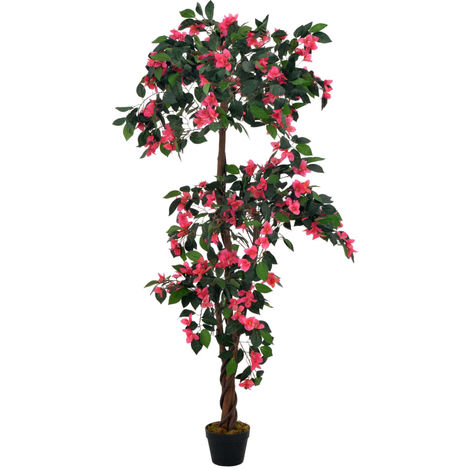 Hommoo Planta artificial rododendro con macetero rosa 165 cm