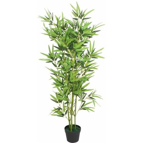 Hommoo Plante artificielle avec pot Bambou 120 cm Vert HDV10563