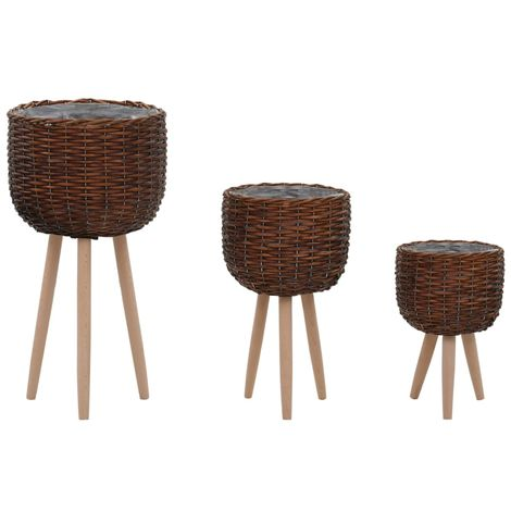 Hommoo Planter 3 pcs Wicker with PE Lining