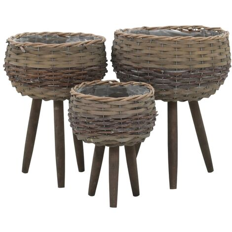 Hommoo Planter 3 pcs Wicker with PE Lining QAH12746