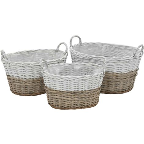 Hommoo Planter 3 pcs Wicker with PE Lining VD12752