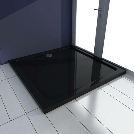 Hommoo Plato de ducha cuadrado de ABS negro 90x90 cm