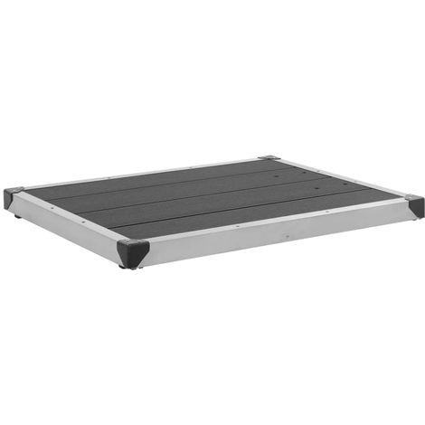 Hommoo Plato de ducha de jardín WPC acero inoxidable gris 80x62 cm