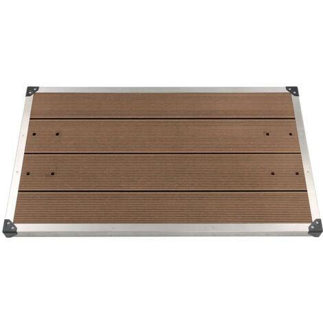 Hommoo Plato de ducha de jardín WPC acero inoxidable marrón 110x62 cm