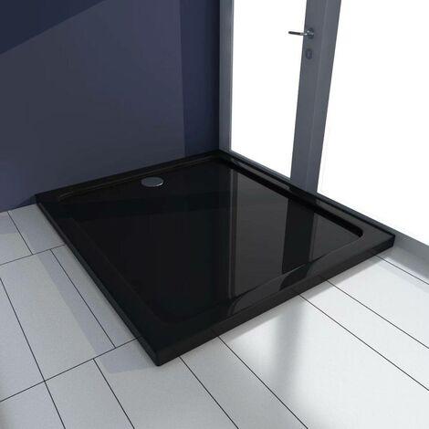 Hommoo Plato de ducha rectangular ABS negro 80x90 cm